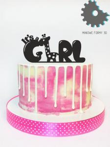 "Topper ""It's a girl + żyrafa"""